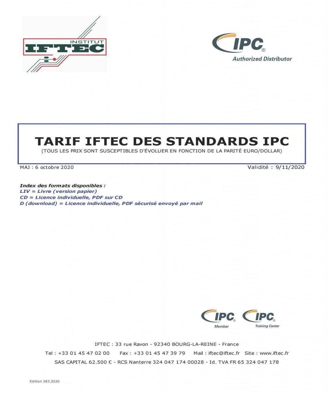 Tarif IFTEC des normes IPC